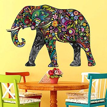 Elephant Wall Decals Full Color Indian Elephant Colorful Floral Patterns Mandala Flowers Wall Vinyl Decal Stickers Bedroom Nursery