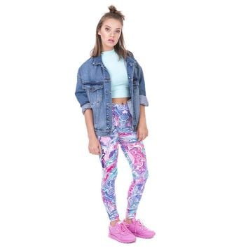 Abstract Purple Flower Leggings
