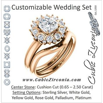 CZ Wedding Set, featuring The BettyJo engagement ring (Customizable Cushion Cut featuring Cluster Accent Bouquet)
