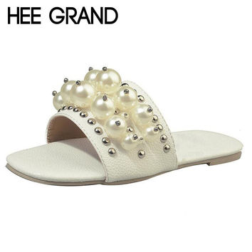 HEE GRAND Women Summer Slippers Artificial Pearl Slides Flat Heel Fashion Woman Shoes XWT746