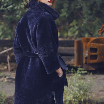 Navy Faux Fur and Leather Reversible Coat
