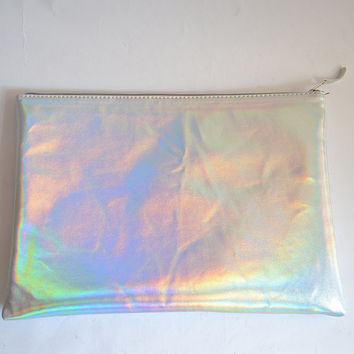 Vegan padded holographic laptop sleeve (Handmade to order)