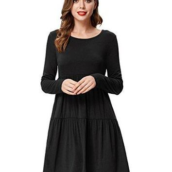 Kate Kasin Womens Casual Long Sleeve Empire Waist Solid Loose Tunic Dress
