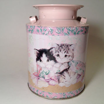 Vintage Giftco Cat Tin, kitty, kittens, pastel, painted, floral, rose, tabby, kawaii, cottage chic, shabby chic, box, container, canister