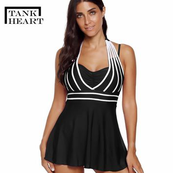 Tank Heart Black Red Blue Plus size swimwear large sizes Tankini Swimsuits Women Two Piece Swimsuit with Shorts Swimdress L-5XL