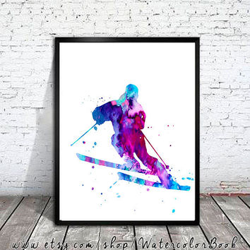 Ski Watercolor Print, Ski art, watercolor painting, watercolor art, Illustration, Snowboard art, art print, ski poster