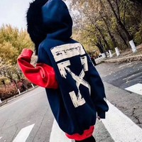 """OFF-WHITE"" Women Personality Fashion Multicolor Letter Pattern Print Hooded Long Sleeve Fur Collar Thickened Sweater Tops"