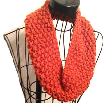 Orange Cowl Handknit Chunky Cowl Hand Made Orange Circular Soft Chunky Knitted Cowl