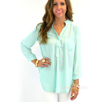 Day Wanderer Mint Tunic Blouse