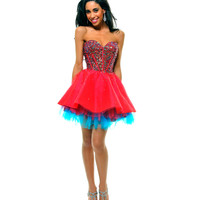 SALE! Red & Blue Strapless Sequin Tulle Tutu Homecoming Dress - Unique Vintage - Prom dresses, retro dresses, retro swimsuits.