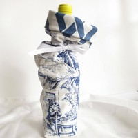 Blue and White Toile Patterned Wine Gift Bag Reusable