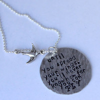 quote necklace, spread your wings, w/bird charm, graduation gift, inspirational, quote jewelry, bridesmaid gift, wrap bracelet, love