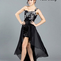 Kari Chang YA1416 One Shoulder Black Hi-Lo Dress