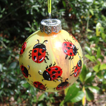 Hand Painted Glass Ornament with red lady bugs yellow orange   background no60