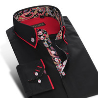 Spring Men's Double Layer Collar Dress Shirts Long-Sleeve Slim Fit Printed Patchwork Cotton Button-Down Shirt
