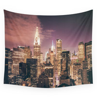 Society6 New York City - Chrysler Building Lights Wall Tapestry