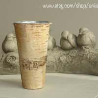 birch bark vases with metal liner, wedding flower pot, rustic chic wedding, party centerpieces, basket, home decor