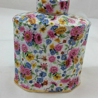 Two's Company Floral Jar Bottle Cannister. Flower Chintz Pattern Gift for Her