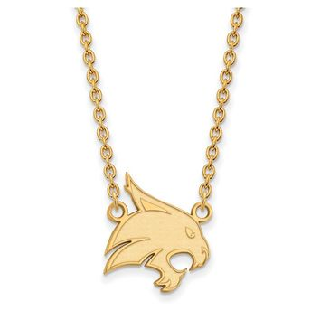 NCAA 10k Yellow Gold Texas State Large Pendant Necklace