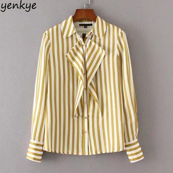 Autumn Women Striped Blouse Shirt Turn-down Collar Long Sleeve Front Frill Elegant Ladies Office Satin Shirts