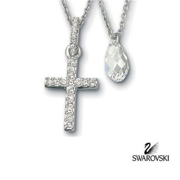 Swarovski Clear Crystal DOUBLE Pendant Cross & Water drop Rhodium #838479