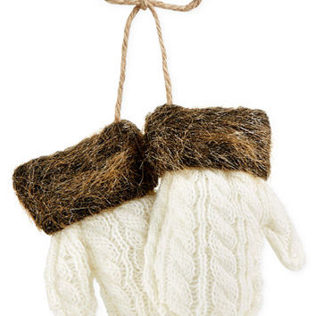 Holiday Lane Mittens with Faux Fur Ornament, Created for Macy's | macys.com