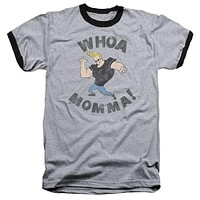 Mens Johnny Bravo Whoa Mama Ringer T-Shirt