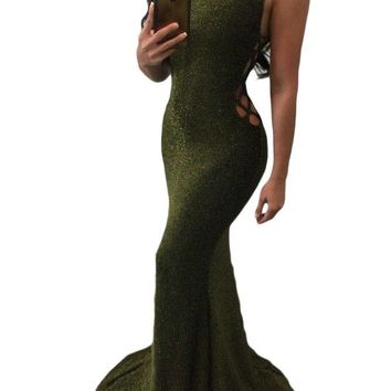 Chicloth Lace Up Side Glittering Green Party Dress