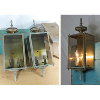Pair of Vintage Brass Carriage Electric Wall Lamps . Outdoor Light Fixtures . Porch Light . Lantern Style Outdoor Lighting