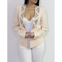 PEACH Studded Crystal Blazer - Jaide Clothing