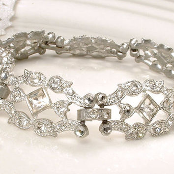 ORIGINAL 1920 Art Deco Bracelet Clear Rhinestone Flapper Jewelry Antique Something Old Silver Pave Crystal Vintage Wide Link Bridal Bracelet