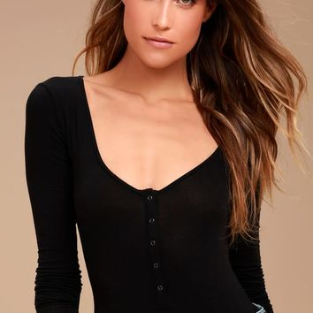 Free People Simply Henley Washed Black Long Sleeve Bodysuit