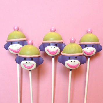 12 Sock Monkey Cake Pops - for baby shower, gender reveal, retro circus or carnival birthday, party favor, wedding, neon or pastel theme