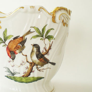 Herend Porcelain Cachepot Rothschild Bird Planter Flowerpot Insects Butterflies
