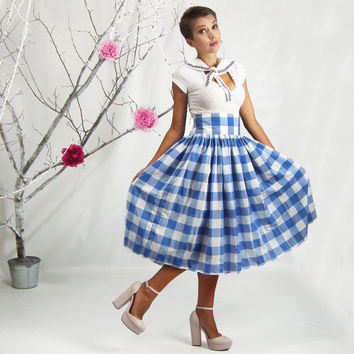 Maxi Skirt, Checkered Skirt, Gingham Skirt, 50's Skirt, Full Skirt, High Waisted Tea Length Skirt, Plus Size Skirt, Picnic Plaid Skirt