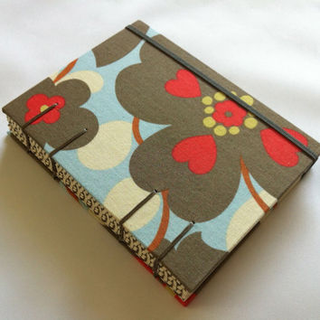Love Flower - Fabric Journal - Handmade - Coptic Stitched