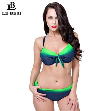 Plus Size Bikini Set For Women Sexy Large CDEF Cup Swimsuit Underwire Push Up Swimwear Biquini
