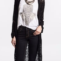 Cozy Me Up Crochet Open Knit Long Cardigan-Umgee-Black
