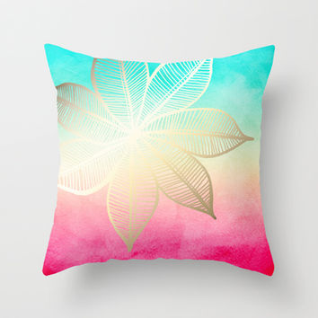 Gold Flower on Turquoise & Pink Watercolor Throw Pillow by Tangerine-Tane