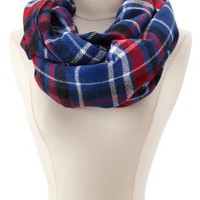 Sweater Knit Plaid Infinity Scarf by Charlotte Russe - Multi