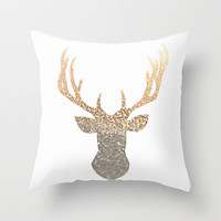 GOLD DEER Throw Pillow by Monika Strigel