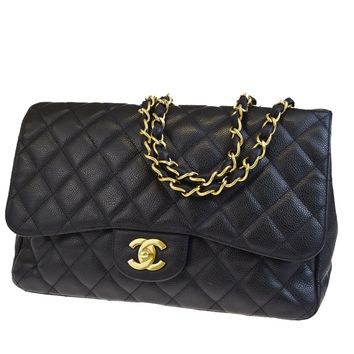 Auth CHANEL CC Matelasse Quilted Chain Shoulder Bag Caviar Skin Leather 312L510