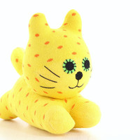 Stuffed Cat Stuffed Animal Cute Plush Toy Cat Kawaii Plushie Buddy the yellow Polka Dot  Cuddly Snuggly SOCK Kitty Cat  9#(F)