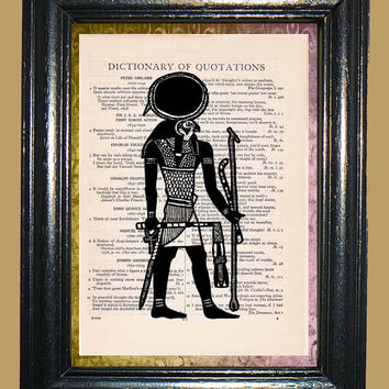 Egyptian Sun God Ra - Vintage Dictionary Book Page Art Upcycled Book Page Art Mixed Media Art Egyptian Art Print
