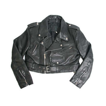 Vintage 70s 80s Motorcycle Jacket - Black Leather Jacket - Womens Motorcycle Jacket - Punk Goth Grunge - Rock and Roll - Cropped Medium