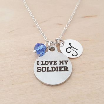 I Love My Soldier  - Military Charm - Personalized Sterling Silver Necklace