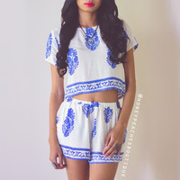 The Dreamers Two Piece Set - Cream/Blue