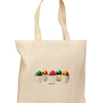 Kawaii Easter Eggs - No Text Grocery Tote Bag by TooLoud