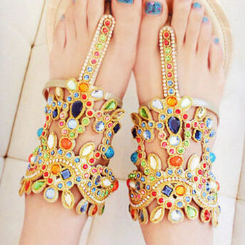 Colorful gems leather beach sandals