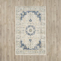 Bungalow Rose Ferry Ivory/Blue Area Rug